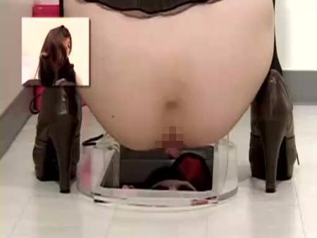 【スカトロ動画】便器の下に潜む変態くんの口にギャルが大便大量投下して食糞強要!